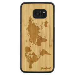 Galaxy S7 Edge Wood Slim Case Bamboo World Map