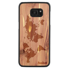 Galaxy S7 Edge Wood Slim Case Cedar World Map
