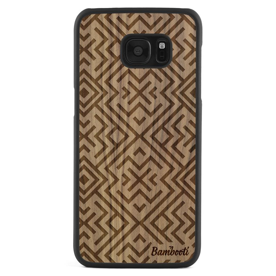 Galaxy S7 Edge Wood Slim Case Walnut Aztec