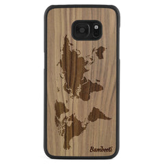 Galaxy S7 Edge Wood Slim Case Walnut World Map