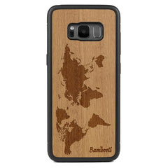 Galaxy S8 Wood Protective Case Mahogany World Map