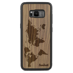 Galaxy S8 Wood Protective Case Walnut World Map
