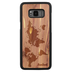 Galaxy S8 Wood Slim Case Cedar World Map