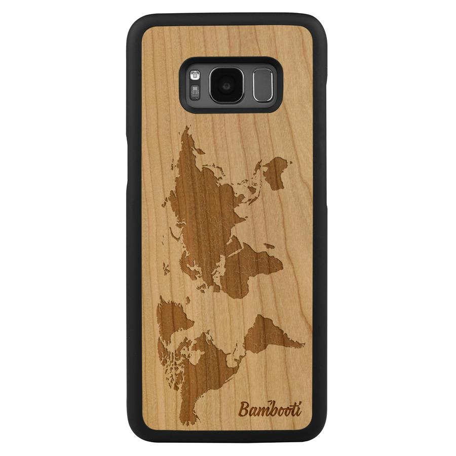 Galaxy S8 Wood Slim Case Cherry World Map