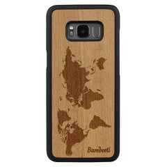 Galaxy S8 Plus Wood Slim Case Mahogany World Map