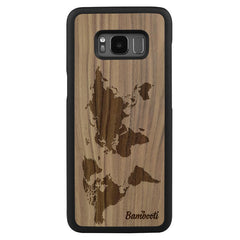 Galaxy S8 Wood Slim Case Walnut World Map