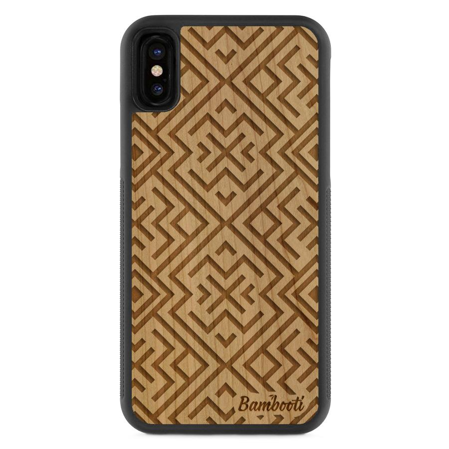 iPhone X Wood Protective Case Cherry Aztec