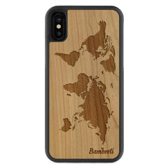 iPhone X Wood Protective Case Cherry World Map