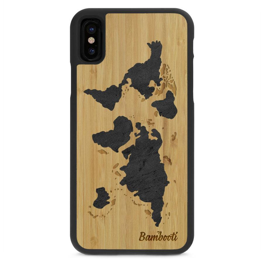 Smartphone Case Bamboo Black Stone Inlay World Map