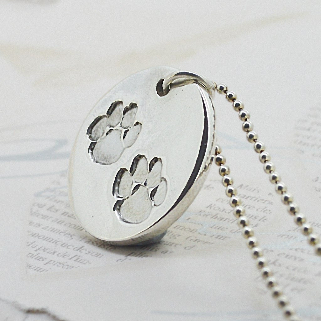 collections necklace necklaces pewter larry products the paw print original dog img