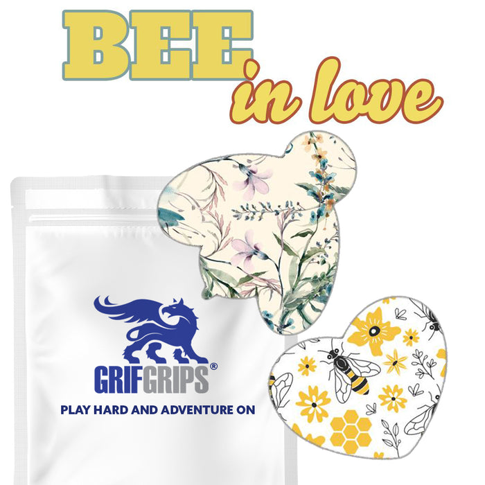 Bee In Love Combo: Extreme Formula - 20 Pack Grips in Bee and Sweetheart Shapes - GrifGrips