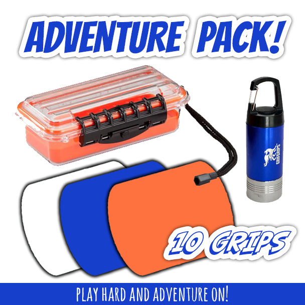 Adventure Combo: Medium Waterproof Hard Case, Small Sports Grips (10 Pack) and Adventure Light - GrifGrips