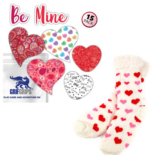 Be Mine Combo (15 Pack) plus Heart Sherpa Lined Socks - GrifGrips