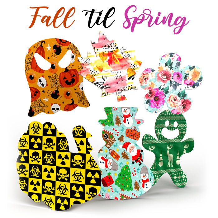 2020 Fall 'til Spring Combo - Ghost, Leaf, Turkey, Gardenia, Gingerbread Man, Snowman Shapes - Choose Your Formula - 30 Pack - GrifGrips