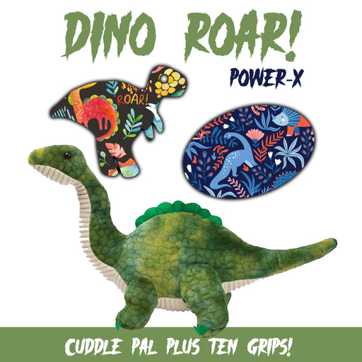 Dino Roar! Combo: 10 Grips in Power-X Formula Plus Cuddle Pal (Green Dinosaur) - GrifGrips