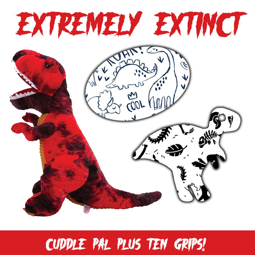 Extremely Extinct Combo: 10 Grips in Extreme Formula Plus Cuddle Pal (T-Rex) - GrifGrips