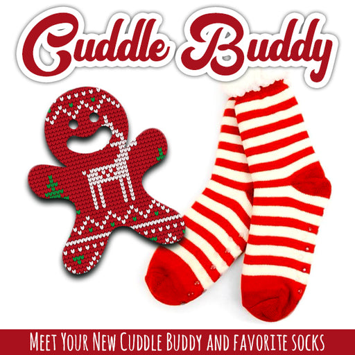 Cuddle Buddy Combo: Fleece Slipper Socks + Grips (Gingerbread)