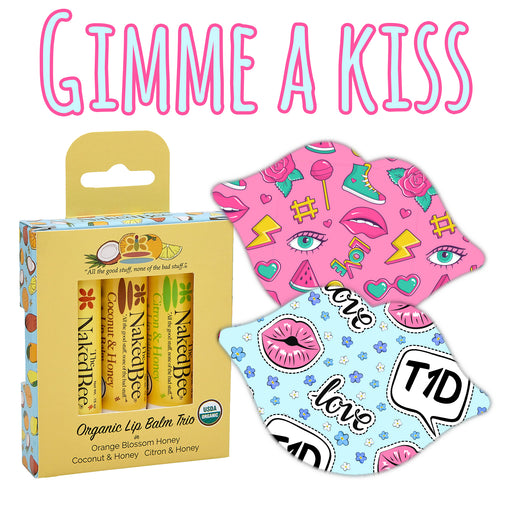 Gimme A Kiss Combo: Choose Your Formula - Lips Shape - 12 Grips Plus 3 Pack Lip Balm Gift Set - GrifGrips