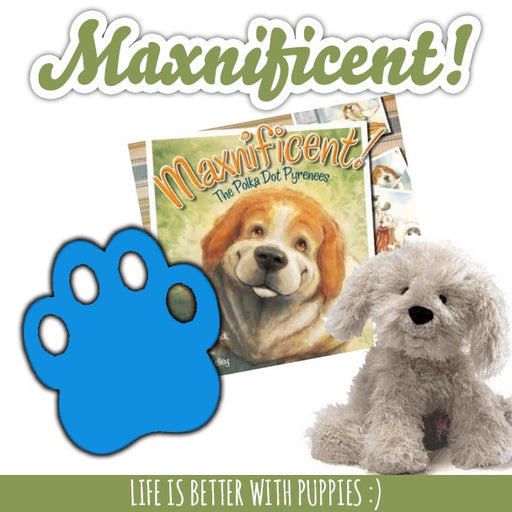 Cuddle Combo: Maxnificent! The Polka Dot Pyrenees Book, Stuffie, and Paw Grips