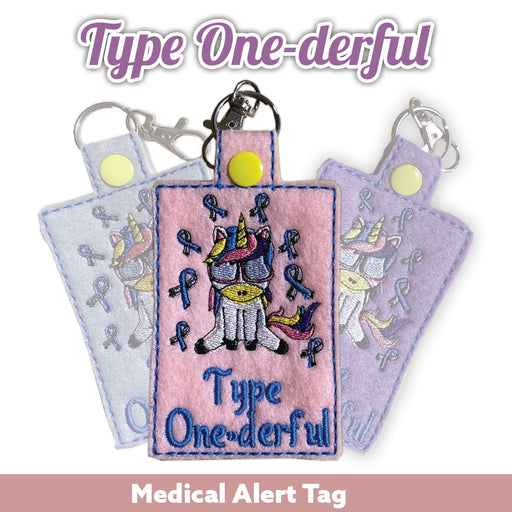 Type One-derful Unicorn Medical Alert Tag (3 Color Choices) - GrifGrips