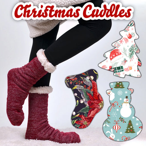 Christmas Cuddles - Fleece Slipper Socks + Christmas Grips (6 Pack)