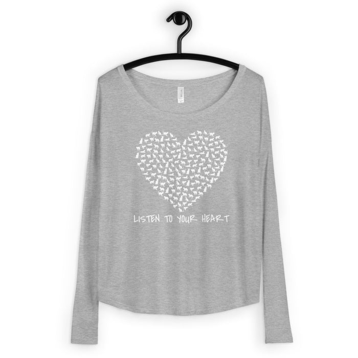 Listen to Your Heart - Kitty Love Ladies' Long Sleeve Tee - GrifGrips