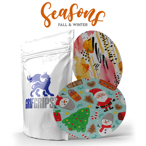 Seasons: Fall Leaves and Mr. Claus - Ovals - Choose Your Formula  - 10 Pack - GrifGrips