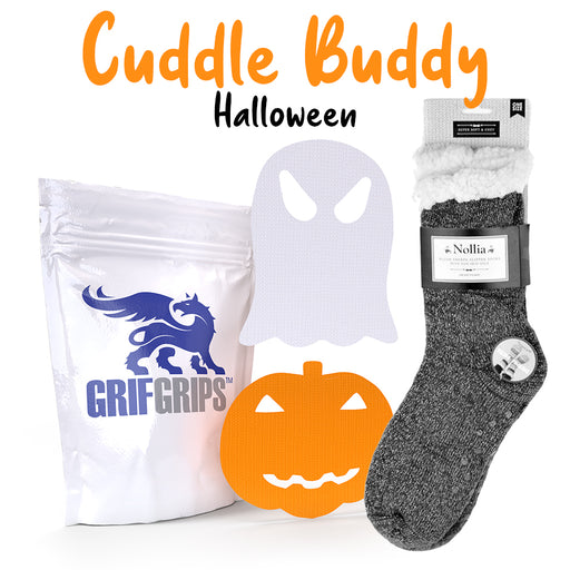 Cuddle Buddy Halloween Combo - Sherpa Fleece Lined Socks with Jack-O'-Lantern and Ghost Shapes - Choose Your Formula - 10 Grips