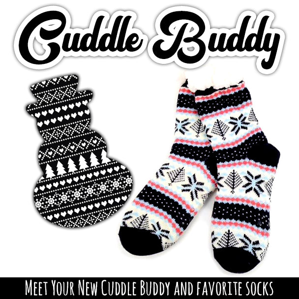 Cuddle Buddy Combo: Navy/Fuchsia Fleece Slipper Socks + Grips (Snowman 4 Pack)