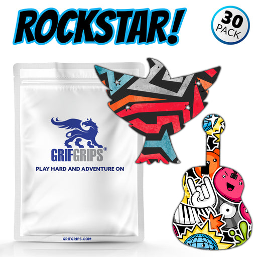 GrifGrips Rock Star Combo (Eagle and Guitar Shapes - Power-X Formula - 30 Pack)