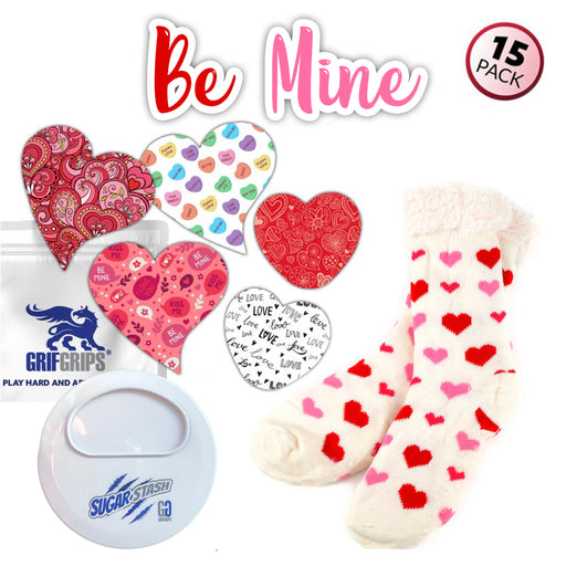 Grab N' Go Gift Combo: Be Mine Combo (15 Pack), Comfy Sherpa Lined Socks and Sugar Keeper Case