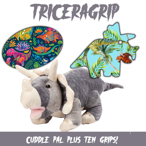 TriceraGrips Combo: Choose Your Own Formula Plus Cuddle Pal and 10 Grips (Triceratops) - GrifGrips