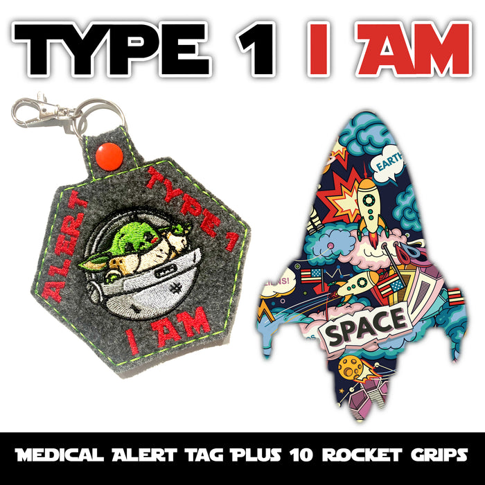 Type 1 I AM Combo: Medical ID Tag for T1D + 10 Rocket Grips in Power-X Formula