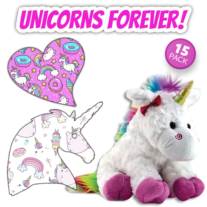 Unicorns Forever Combo: Sweetheart and Unicorn Shapes - 15 Pack - Power-X Formula with Cuddle Pal)