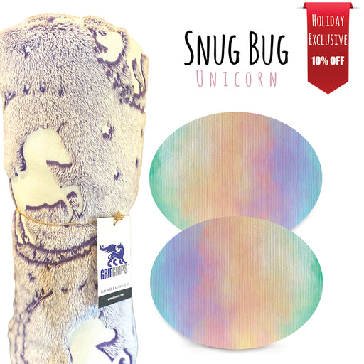 Snug Bug Combo: 10 Oval Grips + Glow in the Dark Unicorn Blanket - Choose Your Formula - 10 Pack - GrifGrips