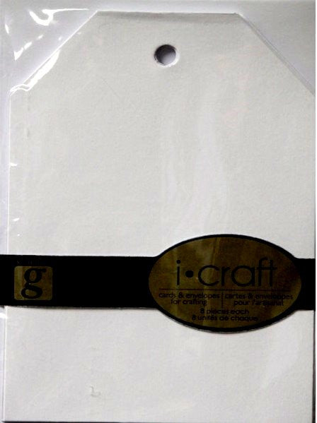 Studio G I-Craft Blank White Tag Shaped Cards & Envelopes