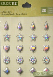 K & Company Studio 112 Clear Self-Adhesive Gems Assortment Embellishments - SCRAPBOOKFARE