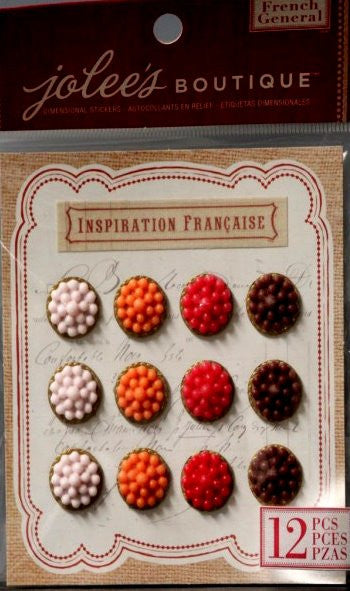 Jolee's Boutique French General Framed Bubble Drops Resin Dimensional Stickers - SCRAPBOOKFARE