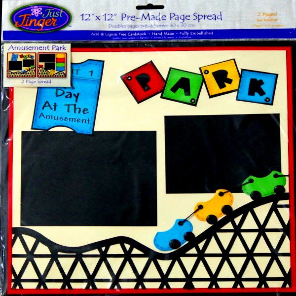 Wilton Pre-made 12 x 12 Just Jinger A Day At The Amusement Park Scrapbook Pages