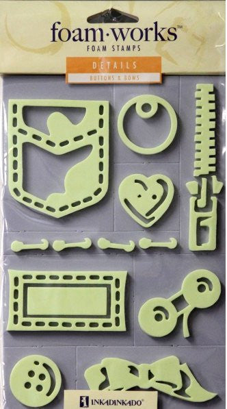 Inkadinkado Foam Works Details Buttons & Bows Foam Stamps - SCRAPBOOKFARE
