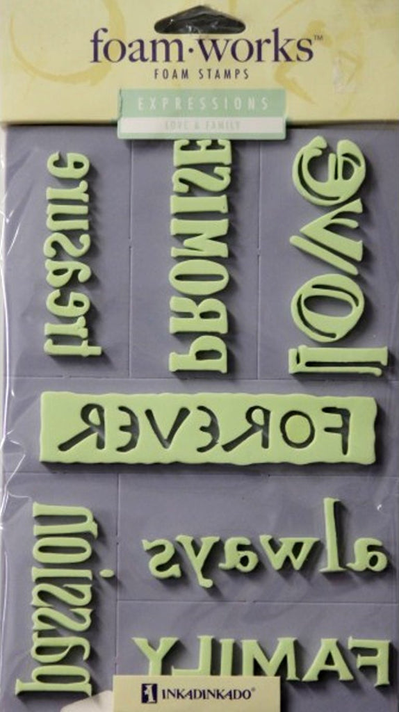 Inkadinkado Foam Works Love & Family Expressions Foam Stamps - SCRAPBOOKFARE