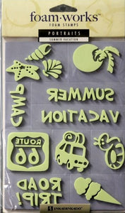 Inkadinkado Foam Works Summer Vacation Foam Stamps - SCRAPBOOKFARE