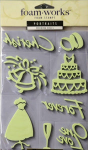 Inkadinkado Foam Works Portraits Wedding Bells Foam Stamps - SCRAPBOOKFARE