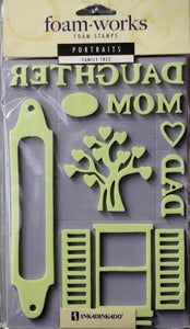 Inkadinkado Foam Works Portraits Double Pack Family Tree Foam Stamps - SCRAPBOOKFARE