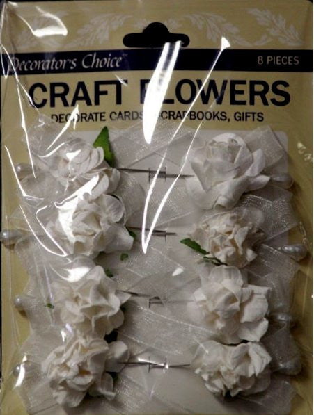 Decorator's Choice Craft Flowers Small White Roses With Elegant Pins - SCRAPBOOKFARE