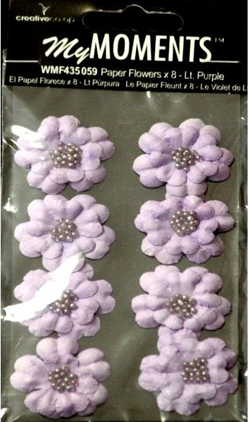 My Moments Light Purple Beaded Paper Flowers - SCRAPBOOKFARE