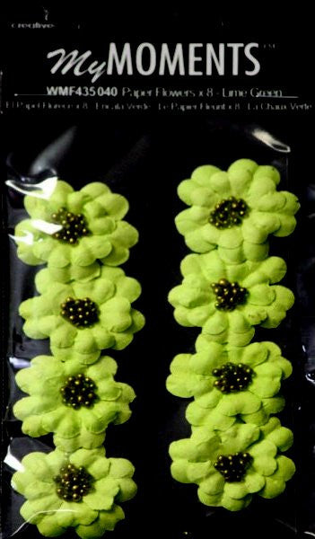 My Moments Lime Green Beaded Paper Flowers - SCRAPBOOKFARE