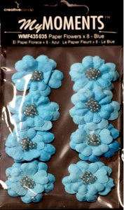 My Moments Light Blue Teal Beaded Paper Flowers - SCRAPBOOKFARE