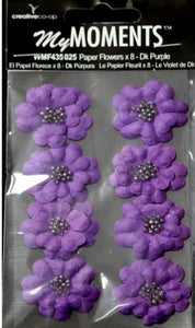 My Moments Dark Purple Beaded Paper Flowers - SCRAPBOOKFARE