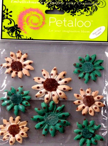 Petaloo Brown, Turquoise And Beige Daisies Flowers - SCRAPBOOKFARE
